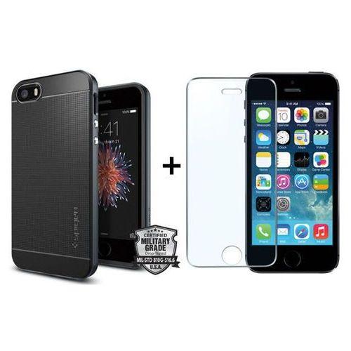 Zestaw | obudowa spigen neo hybrid carbon metal slate + szkło ochronne perfect glass dla modelu apple iphone 5 / 5s / se marki Sgp - spigen / perfect glass