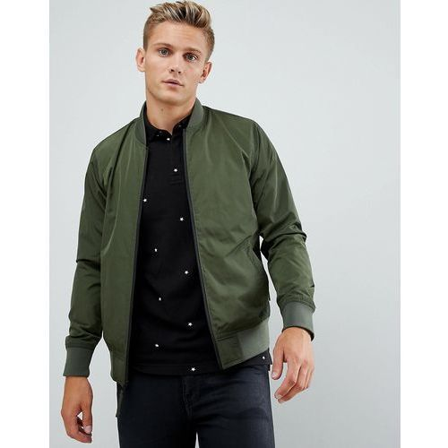 Hollister core bomber jacket black trim in olive green - Green