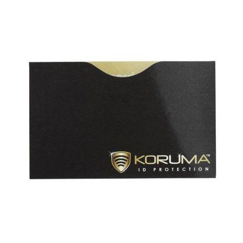 ✅ bezpieczne etui chroniące zbliżeniowe karty płatnicze rfid koruma - poziome etui antykradzieżowe na karty zbliżeniowe (czarne, złote logo) marki Koruma®