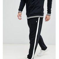 Polo Ralph Lauren Big & Tall player logo jogger zip hem side tape in black - Black