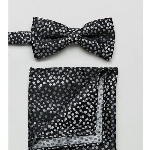 spotty bow tie and pocket square in black - black marki New look