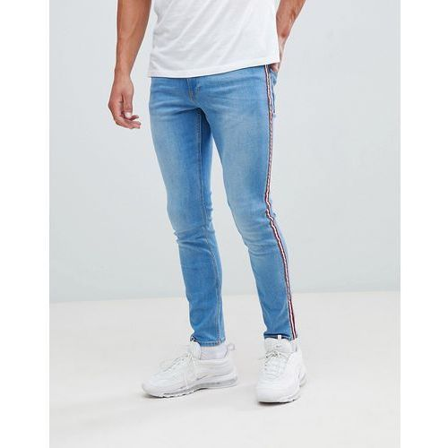 skinny fit jeans with side taping in light blue wash - blue marki River island