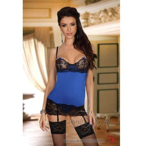 Komplet model shirley chemise dark blue marki Beautynight