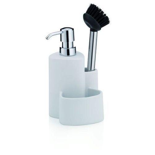 Kela - purana - dozownik do mydła ze szczotką do naczyń, biały (4025457120800)