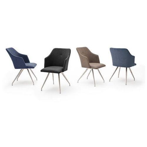 Krzesło MADI B 4 nogi owalne, stal szlach szczot ekoskóra