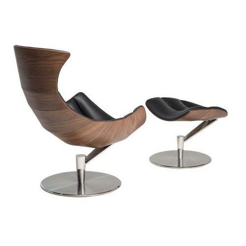 Malodesign Fotel z podnóżkiem arhus czarna skóra/jasny orzech