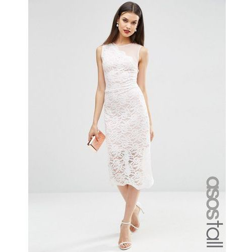 lace placed scallop hem midi dress - white, Asos tall