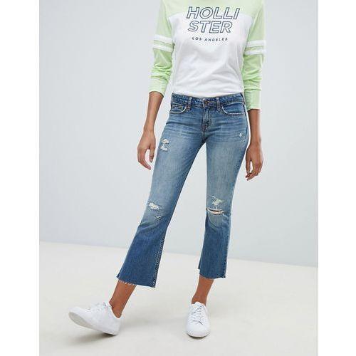 destroyed kick flare jeans - blue, Hollister