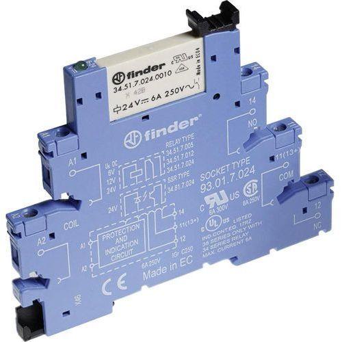 Przekaźnikowy moduł sprzęgający 1P 6A 48V AC/DC 6,2mm styki AgNi+Au 38.51.0.048.5060 FINDER, 38.51.0.024.0060