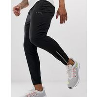 woven skinny tapered running joggers with reflective zip detail in black - black marki Asos 4505