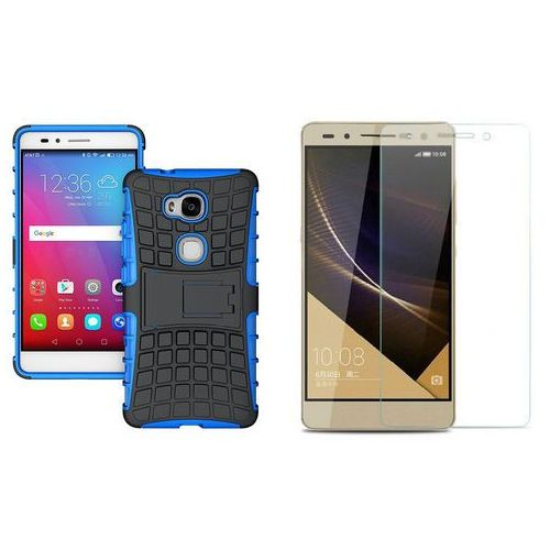 Zestaw | Perfect Armor Niebieski | Pancerna obudowa + Szkło ochronne Perfect Glass dla Huawei Honor 8