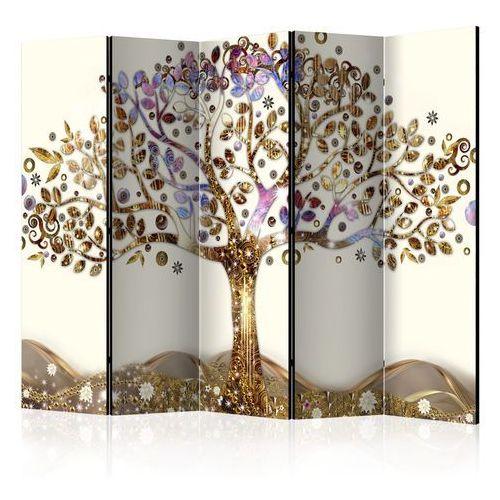 Parawan 5-częściowy - złote drzewo ii [room dividers] marki Artgeist