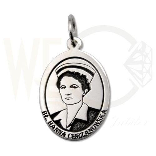 Medalik srebrny z wizerunkiem bł. Hanny Chrzanowskiej MED-H.CHRZANOWSKA-01, kolor szary