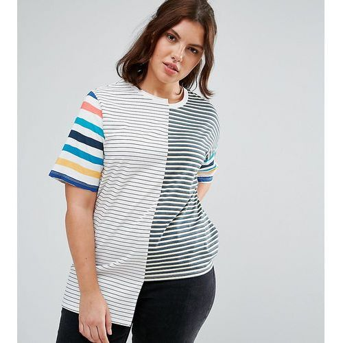 Asos curve t-shirt in oversized fit and mix and match stripes - multi