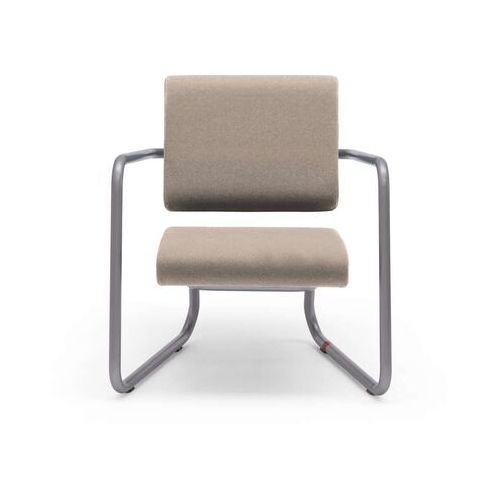 Lonc Steeler, fotel Facet, filc wełniany, kiezel, rama srebrna, indoor P 055 1002 (8719747653265)