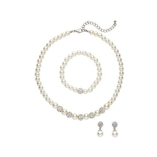Komplet biżuterii z perełek kremowo-srebrny marki Bonprix