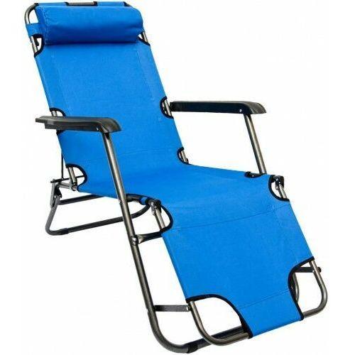 Odense Leżak rozkładany plażowy ogrodowy niebieski łóżko polowe