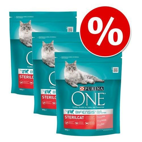 Purina one 3 x 800 g w super cenie! - sterilcat z łososiem  darmowa dostawa od 89 zł + promocje od zooplus!  -5% rabat dla nowych klientów