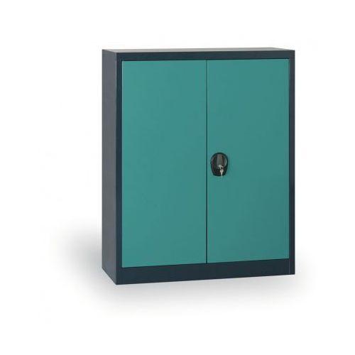 Szafa metalowa, 1150x800x400 mm, 2 półki, antracyt/zielony