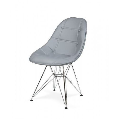 Krzesło EKO SILVER popielaty szary T25 - ekoskóra, podstawa metalowa chromowana (5900000024943)