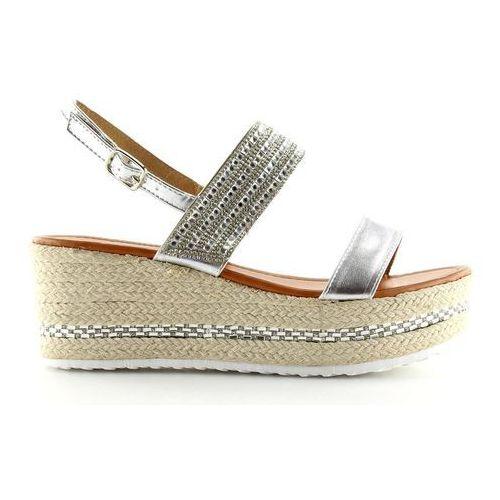 Sandałki espadryle na koturnie srebrne GG-5, 1 rozmiar