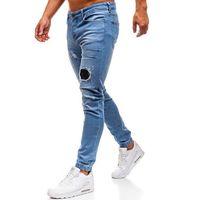 Spodnie jeansowe joggery męskie jasnoniebieskie Denley 2036, jeans