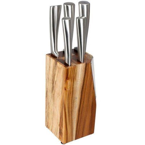 Stojak na noże drewniany , kompaktowy zestaw z 5 nożami ze stali nierdzewnej marki Secret de gourmet