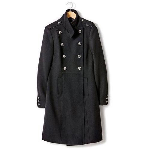 Płaszcz ze stójką, w wojskowym stylu, 50% wełny