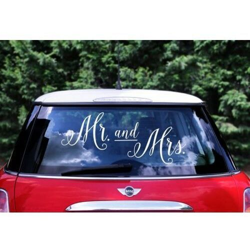 "Partydeco ""naklejka ślubna na samochód - mr. and mrs."""
