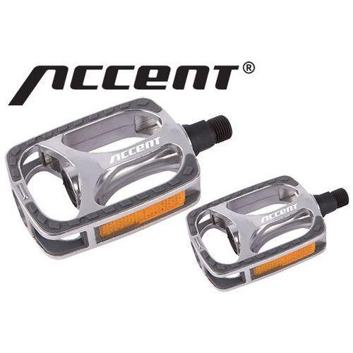 600-10-48_ACC Pedały ACCENT TOWNY aluminiowe, łożyska kulkowe, srebrne