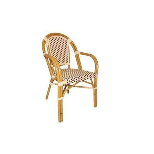 Krzesło z imitacji wikliny z podłokietnikami | różne kolory | 440x560x(H)890mm | 4szt., kolor różowy