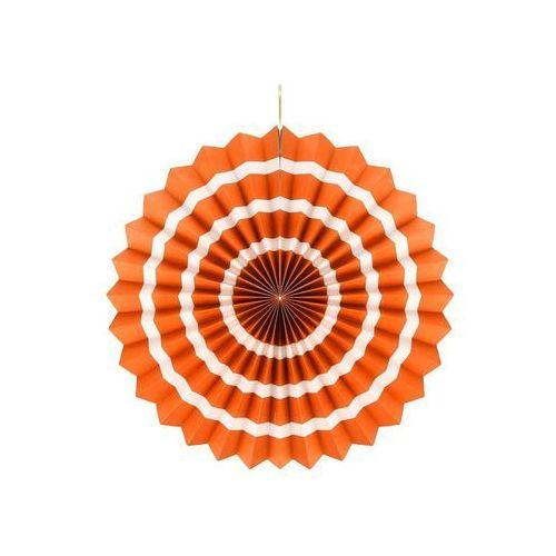 Dekoracja wisząca rozetka pomarańczowo - biała - 40 cm - 1 szt.