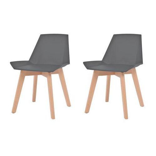 Komplet 2 krzeseł, drewniane nogi i szare, plastikowe siedziska