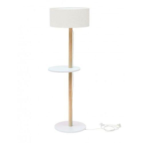 Ragaba Lampa podłogowa drewniana ufo - biały/abażur biały