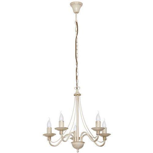 Lampa wisząca świecznikowa zwis Aldex Róża 5x40W E14 prowansalski kremowy 397F9