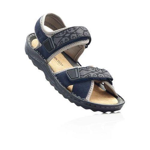 Sandały trekkingowe ze skóry ciemnoniebieski, Bonprix, 36-42