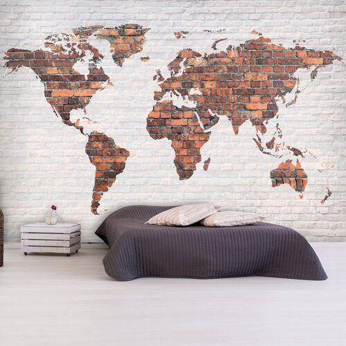Artgeist Fototapeta - mapa świata: ceglany mur