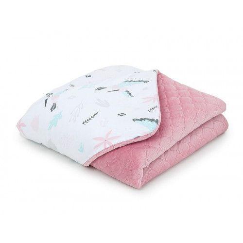 Kocyk dla niemowląt i dzieci velvet pikowany dwustronny 75x100 - Koliberki - różany