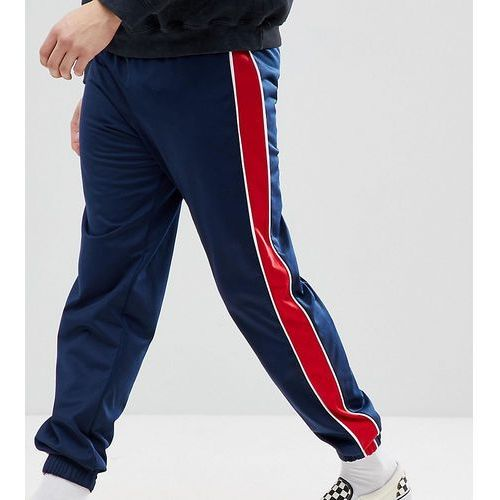 Reclaimed Vintage Inspired Track Trousers In Navy With Red Stripe - Navy