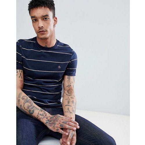 space dye stripe t-shirt slim fit embroidered logo in navy - navy, Original penguin, S-L