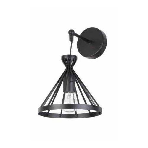 Kinkiet lampa ścienna nowum 31712 metalowa oprawa druciana klatka stożek na wysięgniku czarny marki Sigma