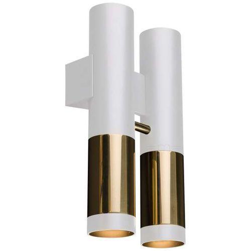 Kinkiet LAMPA ścienna KAVOS 0393 Amplex przyścienna OPRAWA metalowe tuby okrągłe białe złote (1000000549058)
