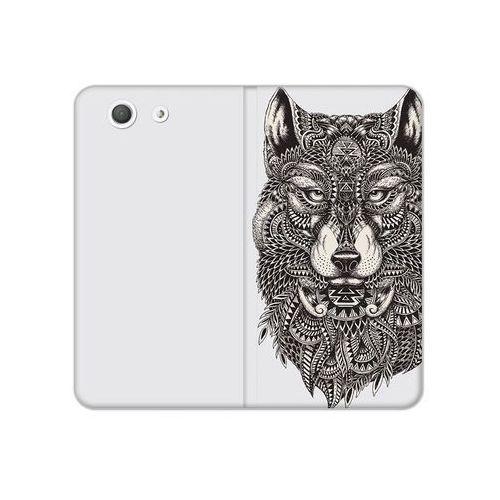 Sony Xperia Z3 Compact - etui na telefon Flex Book Fantastic - aztecki wilk