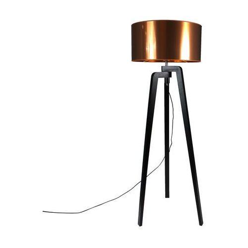 Lampa podlogowa Puros czarna z miedzianym kloszem 50cm