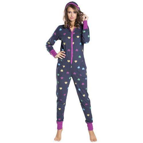 Kombinezon do spania piżama AMI Italion Fashion - Granatowy, kolor Granatowy
