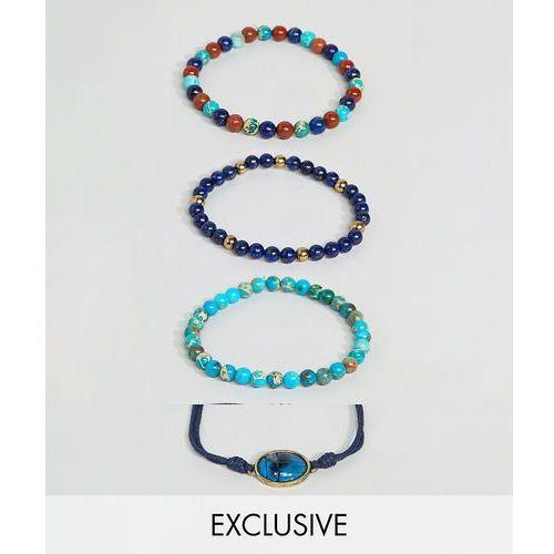 Reclaimed Vintage inspired charm bracelet pack exclusive at ASOS - Blue, kolor niebieski