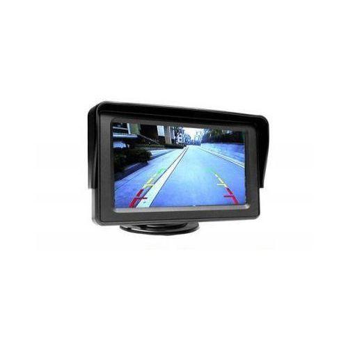 """Samochodowy mały monitor lcd 4,3"""", do kamery cofania, dvd.. + podstawka + daszek + 2 kanały video... marki S.t.i. ltd."""