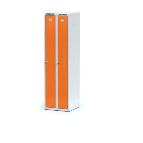 Metalowa szafka ubraniowa, wąska, pomarańczowe drzwi, zamek cylindryczny marki Alfa 3