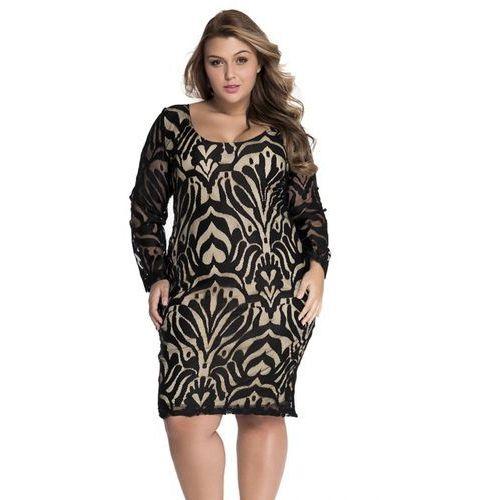 Sukienka illusion nude black Plus Size XXL, Sukienka