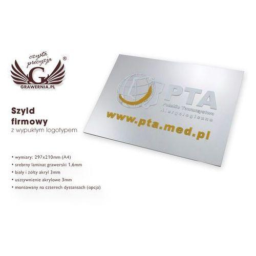 Grawernia.pl - grawerowanie i wycinanie laserem Szyld firmowy 100% wypukłości - srebrny - sz055 - format a4 wym. 29,7x21cm